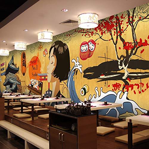 Fotobehang grootte foto Japanse tekenfilmfiguur behang Japanse stijl restaurant retro gebouw hot pot grill behang wandschildering, 430 * 300