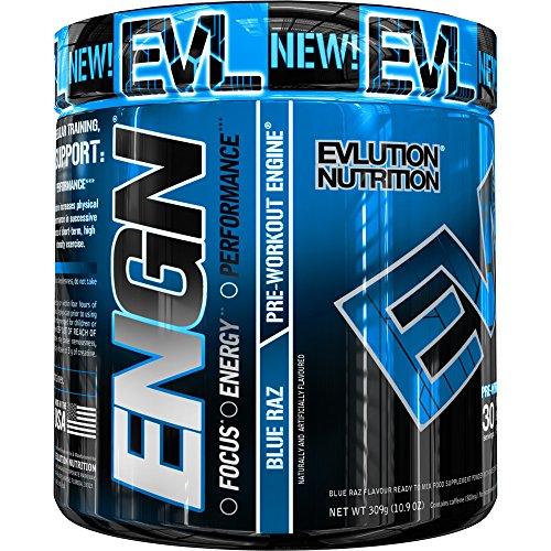 Evlution Nutrition ENGN | Suplemento En Polvo Pre Entreno Con Creatina Vitaminas Cafeína | Contiene 30 Dosificaciones | Sabor Frambuesa Azul