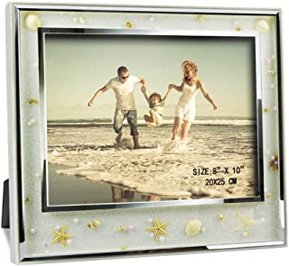 Giftgarden 8x10 Ocean Beach Themed Picture Frame with Seashell and Star Glass Photo Frames for Wall Decor and Tabletop Display