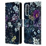 Head Case Designs Licenza Ufficiale Riza Peker Porpora Fiori Notte Floreale Cover in Pelle a Portafoglio Compatibile con Oppo Find X2 Neo 5G