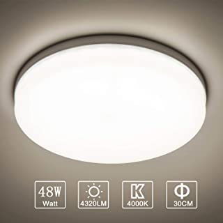 Yafido LED Lámpara de Techo Moderna 48W Plafón Led Redonda Ultra Delgado Downlight Blanco Natural 4000K 4320LM adecuada para Cocina Balcón Dormitorio Corredor Sala de Estar Ø30cm No-Regulable