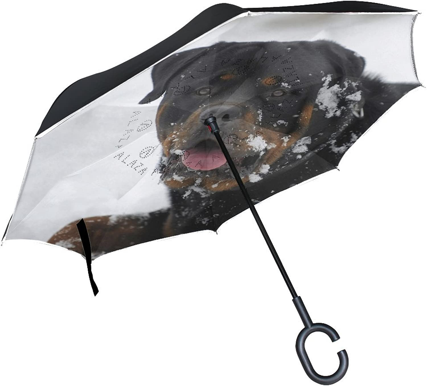 Animal Dog redtweiler Adorable Little Puppy Fluffy Cute Pet Ingreened Umbrella Large Double Layer Outdoor Rain Sun Car Reversible Umbrella