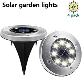 MIXBIRLY Solar Garden Lights Outdoor Green Powered Ground Illumination for Patio Lawn and Front Yard Warm White 4 Pack, Upgraded