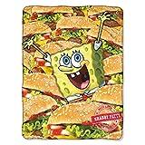 Nickelodeon's Spongebob Squarepants, 'Mass Patties' Micro Raschel Throw Blanket, 46' x 60', Multi Color