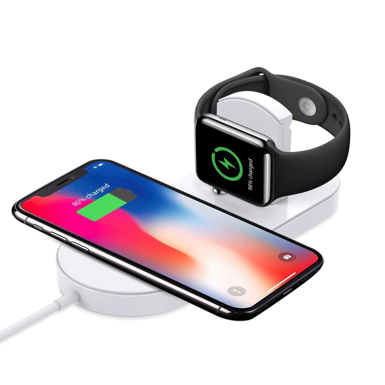 T TECLUSIVE Luxury 2 in 1 Wireless Charger Compatible for iPhone and iWatch    Smart Qi Wireless Charging Compatible for iPhone 11 Pro Max / 11 / XS Max  / X /
