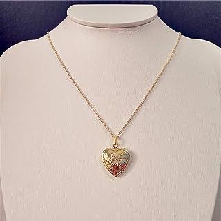 Collezione oro Natale 2019 Collana fatta a mano placcata in oro con pendente a medaglione a forma di cuore placcato in oro...