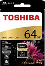 TOSHIBA SD Memory Card 64GB EXCERIA PRO N502 SDXC UHS-II U3 Read 270MB/s Write 260MB/s 8K V90 Video Speed Class (THN-N502G0640A6)