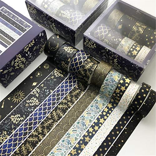 SWECOMZE 10 Rollen Washi Tape Set, Dekoratives Klebeband, DIY Papier Tape, Masking Tape Klebebänder Set (E)