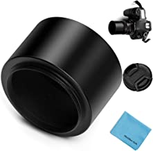 62mm Tele Metal Screw-in Lens Hood Sunshade with Centre Pinch Lens Cap for Canon Nikon Sony Pentax Olympus Fuji Sumsung Leica Camera + Cleaning Cloth