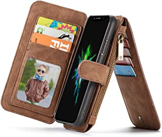 Multifunction phone case for Apple Iphone 8 anti fall cover with 14 Card Slots and wallets Brown