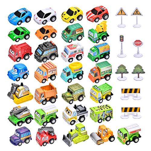 Kilpkonn Auto Spielzeug für Kinder 29pcs & 8 Verkehrsschilder, Mini Pull Back Cars Spielset, Jungen, Kleinkinder ab 3 Jahren