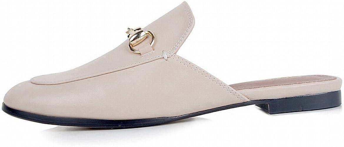 DHG Porter des Chaussures Plates Paresseux Sandales Muler Chaussures,Chamois,37