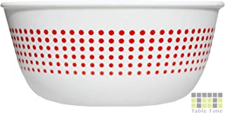 TT Soup Bowl, 28oz, Set of 4, Premium Quality Porcelain, Salad and Desserts Bowl Set, Cereal Bowl, Snack Bowl, Glass Bowl, 827ml, Scratch Off, Soup Bowls Set, Bowl Dots Red White, Made in the USA