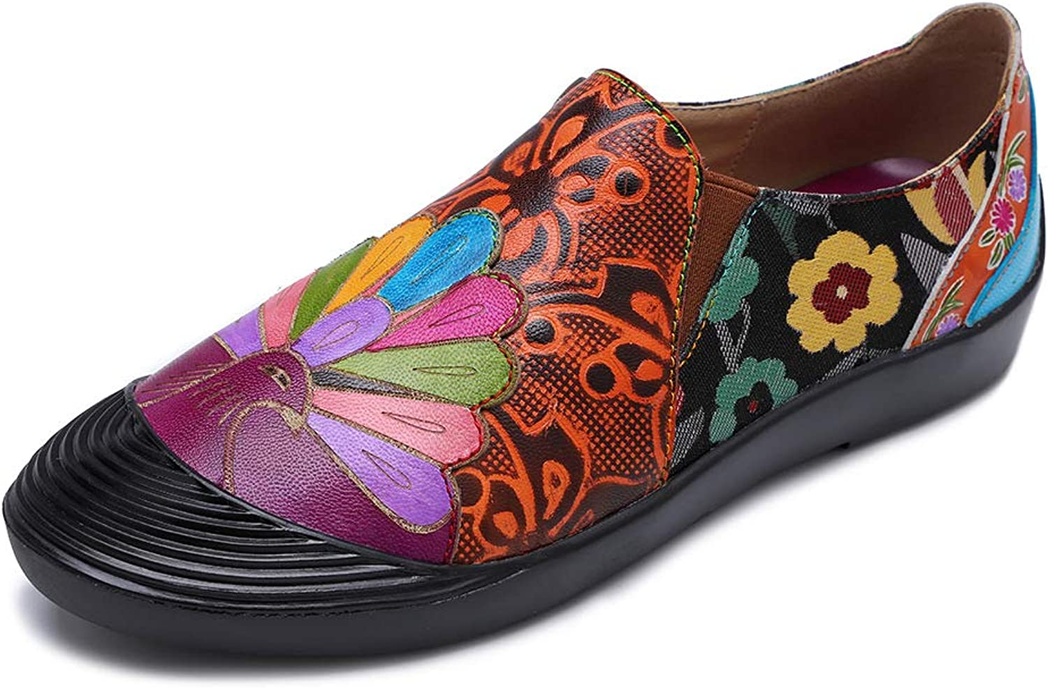 CrazycatZ Womens Leather Mary Jane Flat shoes Leather Loafer Bohemian Pattern shoes