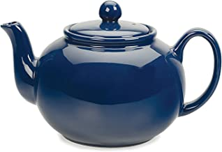 RSVP Large Stoneware Chai Teapot -Microwave & Dishwasher Safe - 42 oz - Blue