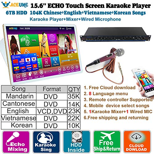 Great Price! 6TB HDD 104K Chinese+English+Vietnamese+Korean Songs 15.6'' Touch Screen Karaoke Player...