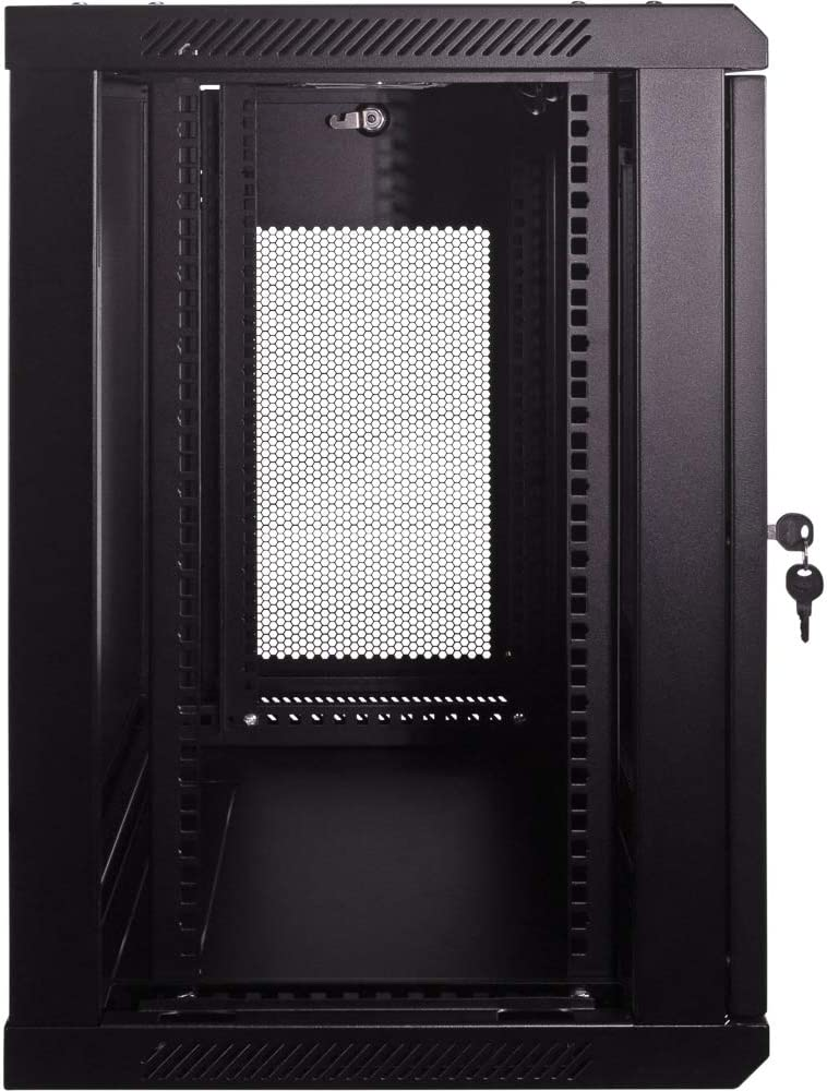 NavePoint 12U Deluxe IT Wallmount Cabinet Enclosure 19-Inch Server Network Rack with Locking Perforated Door 16-Inches Deep Black