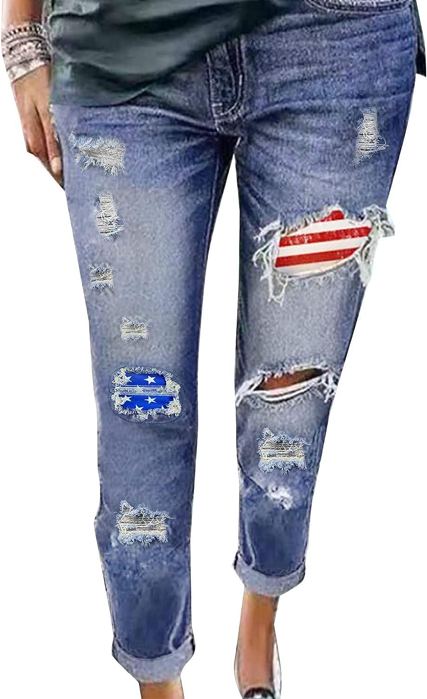 BLENCOT Women's High Rise Ripped Jeans Boyfriend Distressed Stretch Straight Leg Denim Pants