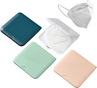 4 Estuche Cubrebocas KN95, 4 piezas Porta Cubrebocas de Colores KN95, estuche de plástico para Tapabocas, Bolsa portátil p...