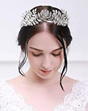 Deniferymakeup Vintage Baroque Wedding Olive Branch Crown and Tiara Bridal Princess Queen Crown for Bride and Bridesmaid (Silver)
