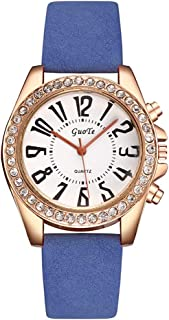 Women's Wrist Watch Analog Quartz with Leather Strap and Crystal Dial Waterproof Classic Daily Style