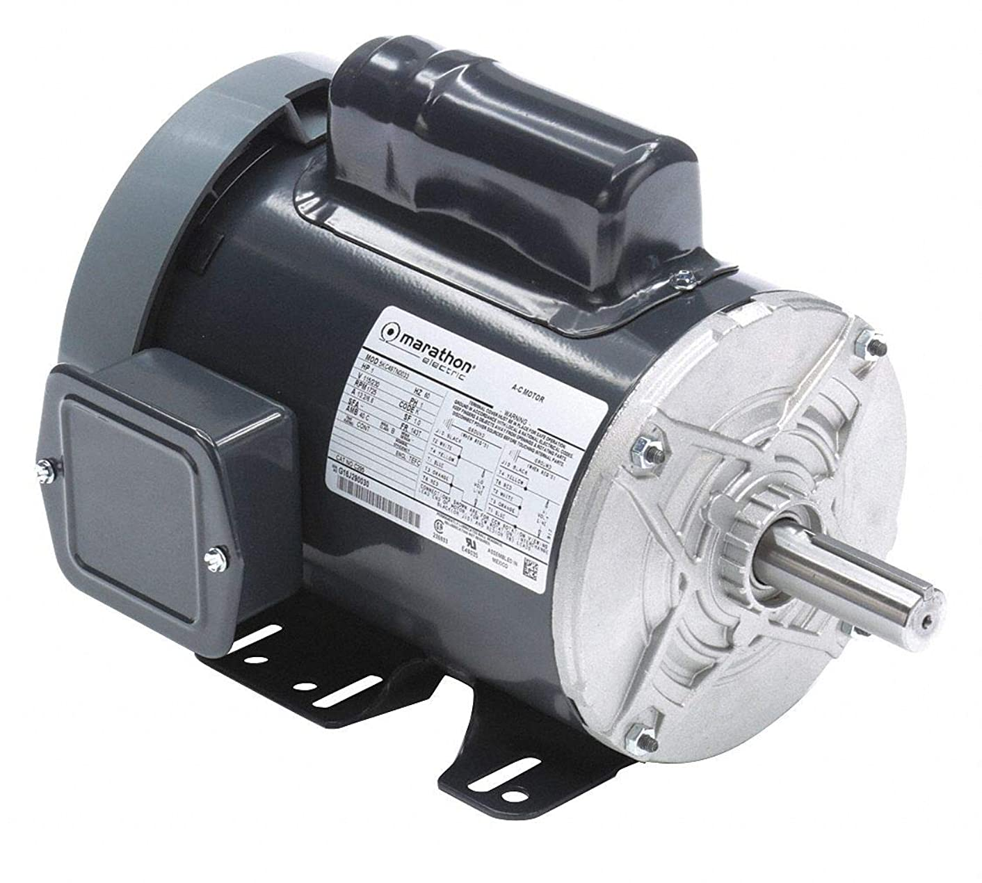 Marathon C295 143T Frame Totally Enclosed Fan Cooled 5KC49TN0033 General Purpose Motor, 1 hp, 1800 RPM, 115/230 VAC, 1 Phase, 1 Speed, Ball Bearing, Rigid Base, Capacitor Start