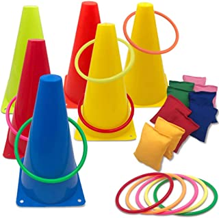 Hokic 3 in 1 Carnival Games Set, Soft Plastic Cones Set Bean Bag Ring Toss Games for Kids Birthday Carnival Party Outdoor Games Supplies