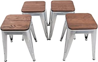 HAOBO Home Modern Industrial Metal Stool with Wooden Seat [Set of 4] Stackable Counter Height 18
