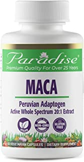 Paradise Herbs - Maca - Peruvian Adaptogen   Active Whole Spectrum 20:1 Extract   Known For Its Energy + Stamina & Aphrodi...