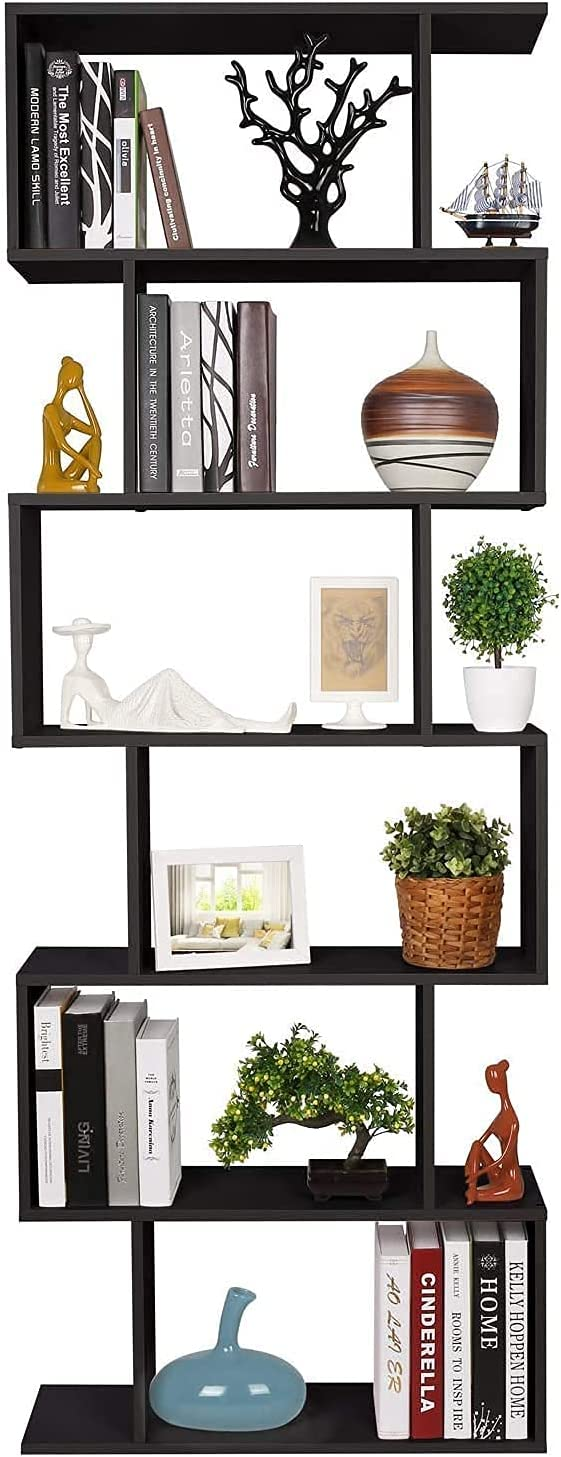 Bookshelf S Shaped Bookcase, 6-Tier Bookshelf Free Standing Display Storage Shelves Decor Furniture for Home Living Room Office