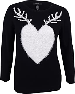 Women's Plus Size Knit Reindeer Print Sweater