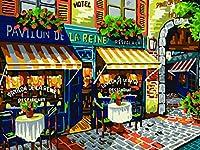 DIY 数字 油絵 塗り絵 キット 大人 子ども 塗り絵 店の前 デジタル油絵 手塗り 数字キットによる絵画 絵かき インテリア 壁飾り ホームデコレーション 40x50cm(額縁なし)