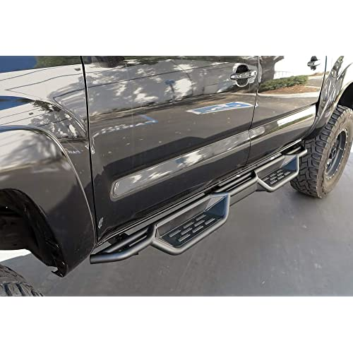 APS Auto Black 6 Inches Tubular Drop Down Style Nerf Bars Running Boards Compatible with 2005-2020 Toyota Tacoma Crew Cab Pickup 4-Door
