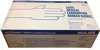 NULIFE Non Sterile Powdered Latex Medical Examination Gloves, Medium (White) - 100 Pieces