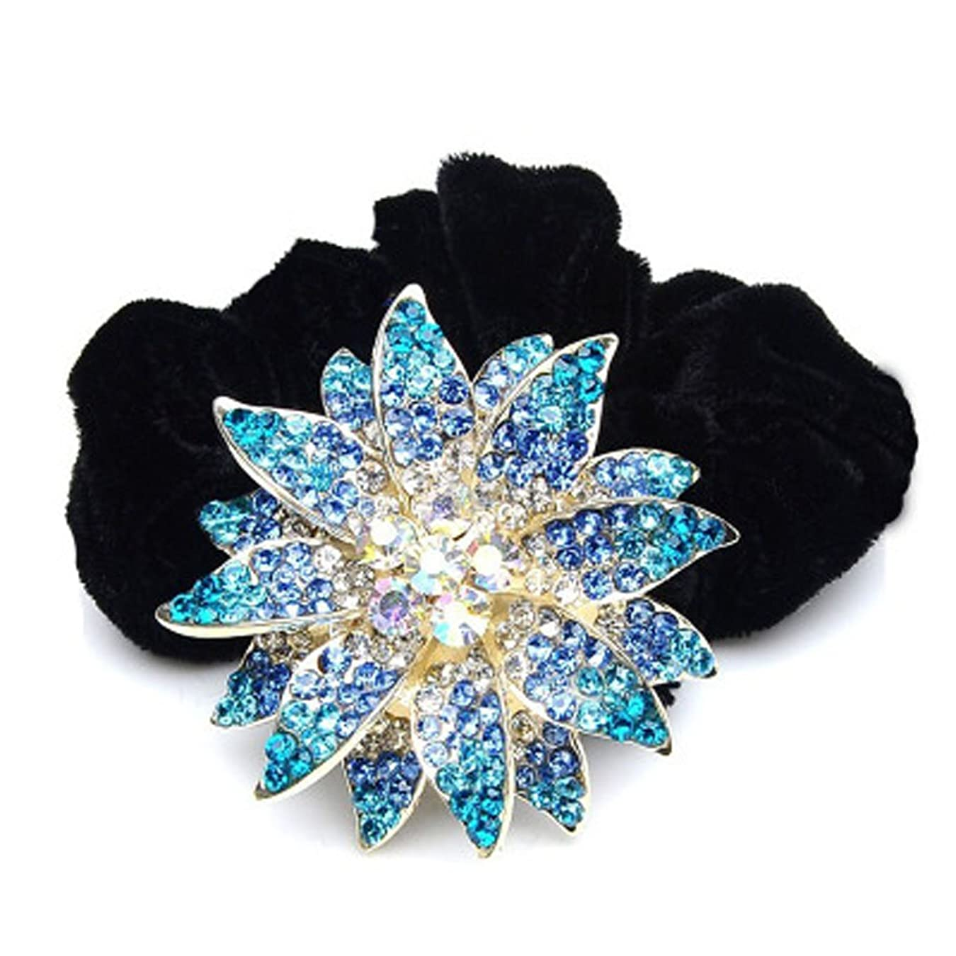 有望接続時代遅れ高品位ベルベットリングクリスタルダイヤモンドヘアアクセサリー - スカイブルーの花