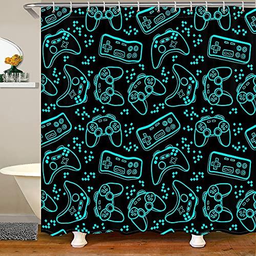 Cortinas de ducha modernas con control de videojuegos, impermeables, con 12 ganchos, para bañera, adolescentes, juegos de baño, para niños, niñas, 183 cm de ancho x 213 cm de largo