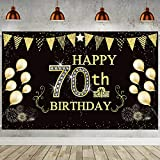 6 x 3.6 ft Happy 70th Birthday Backdrop Background Banner for 70th Anniversary Decorations, 70th Birthday Black Gold Party Decorations