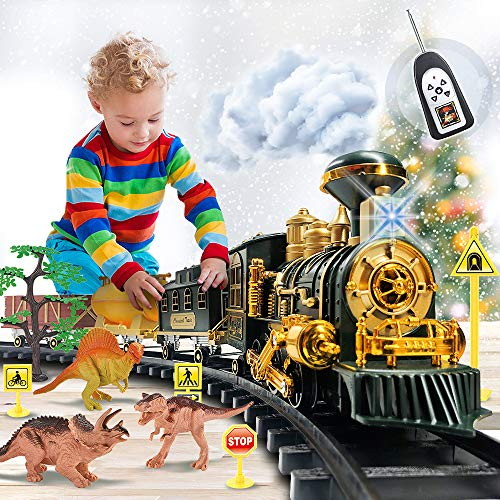 Train Set Toy with Remote - Upgraded Large Size Electric Train Toy Set with Dinosaurs, Battery-Powered Steam Locomotive Engine, Cargo Cars & Tracks, Gift Toys for Age 3 4 5 6 7 8+ Kids, Assorted.