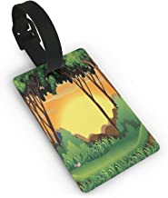Luggage Tags Flexible Travel ID Identification Labels,Cartoon Sunset Over Hills Tree Spring Season Inspirations Green Bushes,Travel Accessory With Wristband