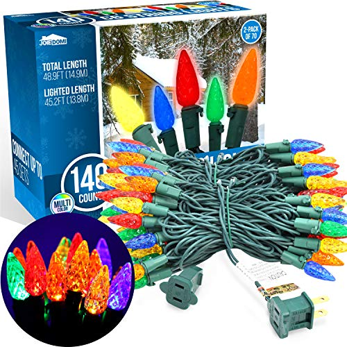 2 Sets 70-Count C6 Christmas Light, Multicolor Christmas Lights for Indoor or Outdoor Christmas Decorations