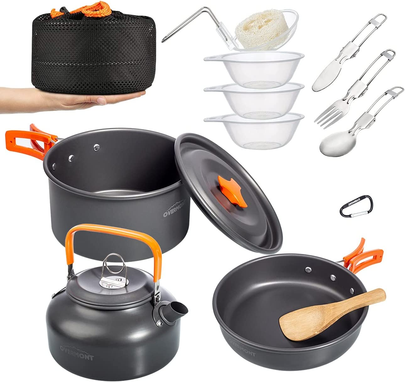Overmont 1.95 Liter Pot+ Limited Special Price Rapid rise Kettle Perso Set Camping Cookware 1-2