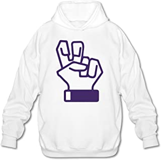 Tjame Men's Texas Tcu Horned Frogs Classic Hand Sign Sweatshirts White