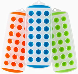 Lily's Home Silicone Mini Ice Cube Trays with Easy Push and Pop Out Materials, Ideal for Sports or Water Bottles, Assorted Bright Colors (11