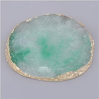 CHHNGPON Ruwe Stone Nail Art Palette cosmetische plaat imitatie agaat onderzetter kop mat hanger (Kleur: Groen)