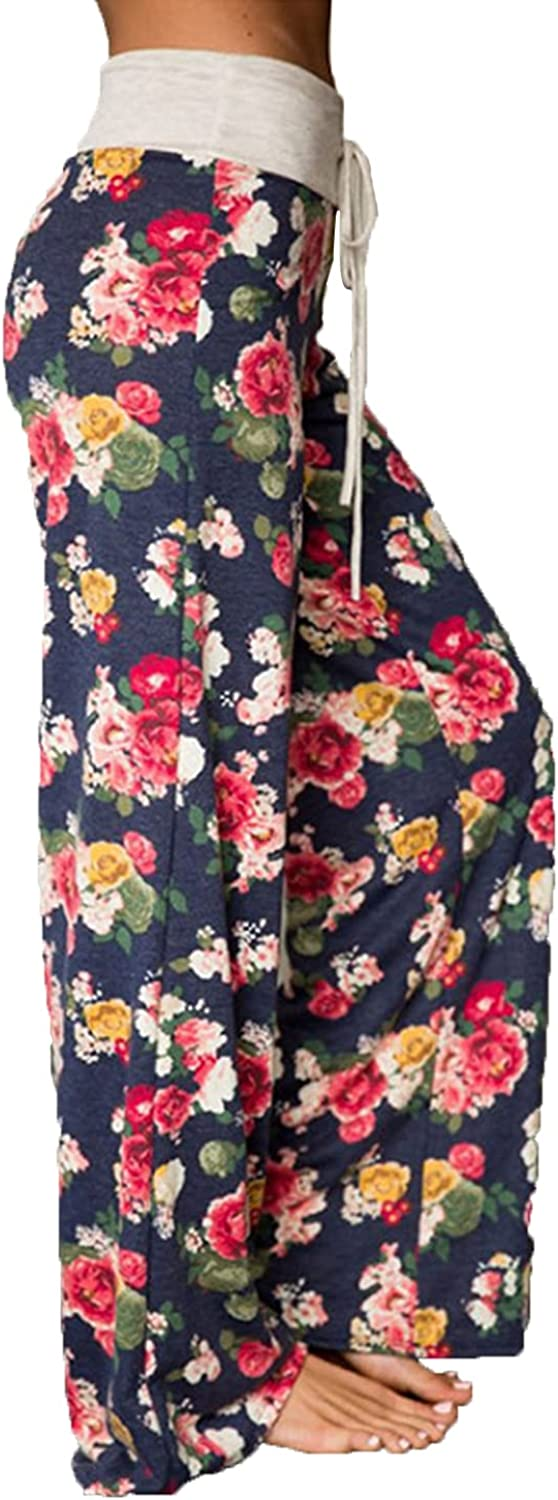 Women's Printed Wide-Leg Pants Comfy Stretch Floral Print Drawstring Lounge Trousers Casual Stretchy Casualpants (XX-Large,Blue 2)