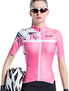 Santic Cycling Jersey Women's Shorts Sleeve Tops Bike Shirts Bicycle Jacket Full Zip with Pockets