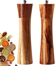 Salt and Pepper Grinders Set, 8 inch Acacia Wooden Salt and Pepper Mills Shakers Kit Ceramic Rotor with Strong Adjustable ...