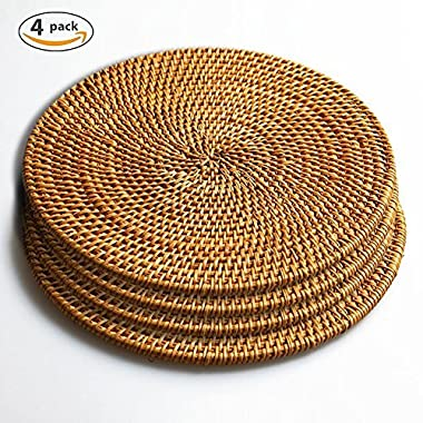 Hand Woven Rattan Trivets Pot Holder,Non Slip Weave Placemats,Durable Round Mats, Heat Resistant Hot Pads Perfect Modern Home Decor Heat Resistant Coasters Cup Insulation Mat (4Piece, 7.08 inch)