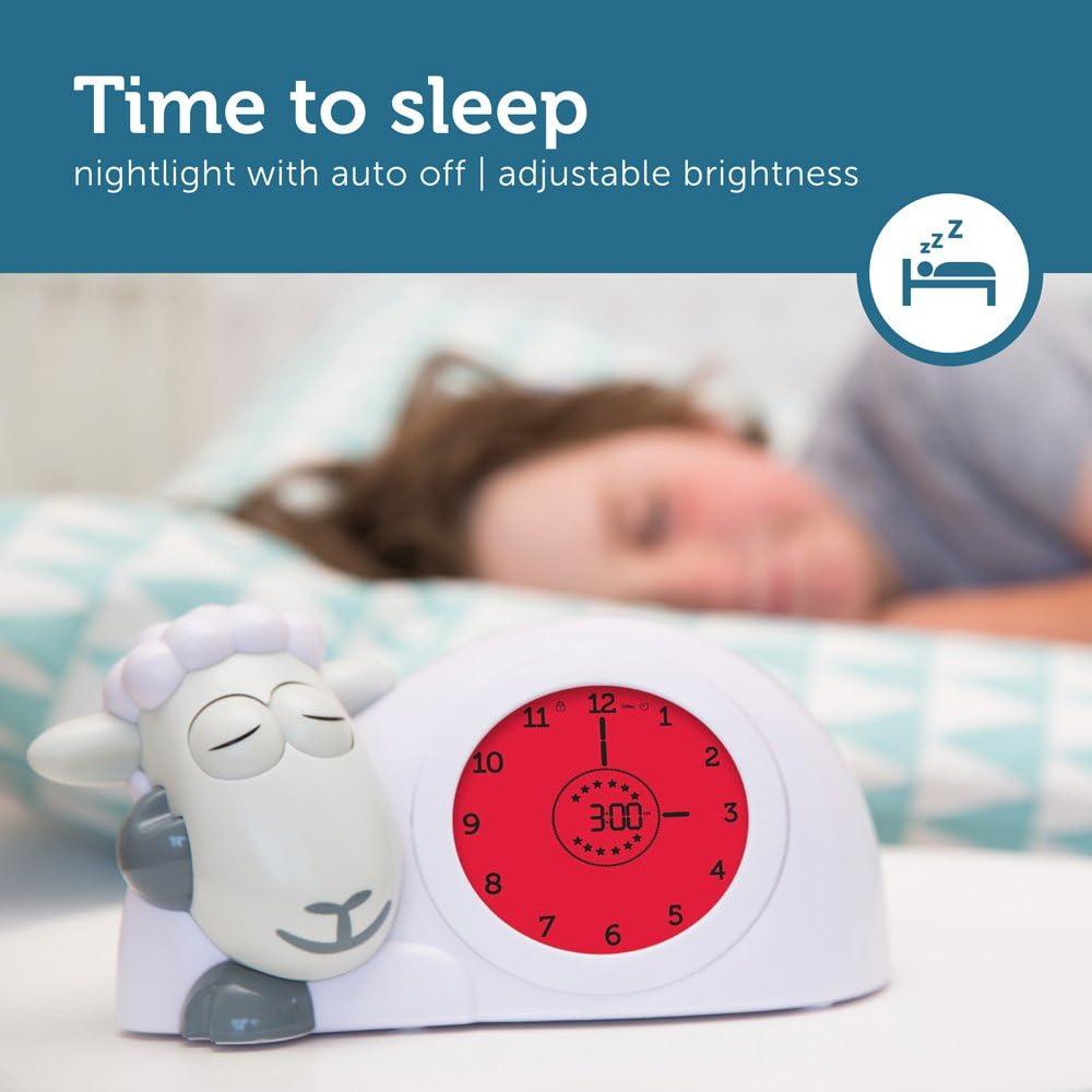 Taupe Sleep Trainer Clock /& Nightlight for Kids Light Up Alarm Clock Zazu Sam the Lamb helps teach your child when to wake up