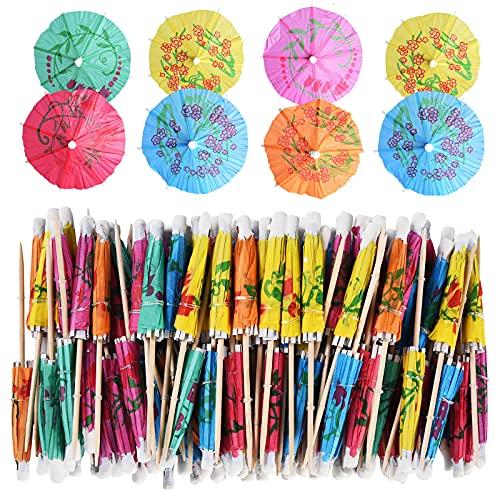 ALINK 144-Pack Cocktail Drink Umbrella Picks, Luau Parasols Toothpicks for Tropical Hawaiian Tiki Party Decorations